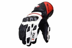 Motorcycle Motorbike Carbon Fiber Knuckle Cowhide Sport Leather Glove White RAC3