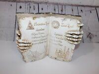 "Pier 1 Resin SpellBook Spell Book w Skeleton Hands Decor 9"" x 11.5""  New"