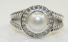 GORGEOUS STERLING SILVER DAVID YURMAN RING WITH PEARL AND DIAMONDS #J6