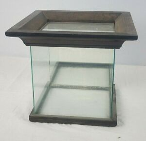 Large Wood and Glass Vintage Display Box, Diorama Protector, Mirrored Back Wall