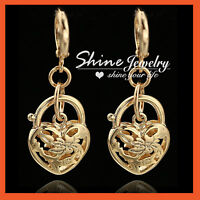 24K GOLD GF HEART BELCHER PADLOCK FILIGREE DANGLE HOOP HUGGIES LADY EARRING GIFT