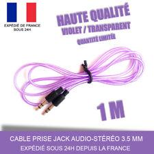 CABLE PRISE JACK AUDIO-STÉRÉO 3.5 MM / AUXILIAIRE AUDIO / VIOLET / 1M
