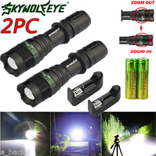 5000LM 2Sets taktische CREE T6 LED Taschenlampe Zoomable Fackel-Licht-Satz Paket
