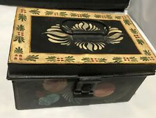 "Antique Tin Tole Box. Handpainted. 8x5x4.25""   - 1800s ?"