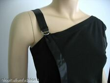 ITALIAN DESIGNER STRETCH BLACK DESIGNER EVENING TOP  XS S 4 6 NWT MADE IN  ITALY