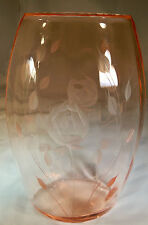 "PADEN CITY ROSE WHEEL-CUT ETCHED CHERIGLO PINK 8-1/4"" TALL ELLIPTICAL VASE!"