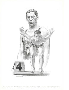 Johnny Weissmuller 1960s REPRODUCTION OF ROBERT RIGER DRAWING / LITHOGRAPH
