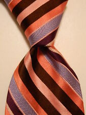 TED BAKER London Men's Silk Necktie USA Designer STRIPED Pink/Purple/Blue GUC