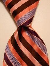 TED BAKER London Men's Silk Necktie USA Designer STRIPED Pink/Purple/Blue GUC
