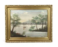 Antique c. 1900 Primitive Naive Oil Painting of Landscape Hudson River School