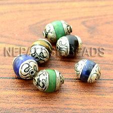 WS28 Nepalese Tibetan White Metal Turquoise Lapis Tiger Eye 6 Beads Wholesale