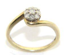da donna / 9ct/9 carati oro giallo stile GRAPPOLO ANELLO DIAMANTE MISURA UK