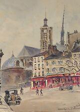 EGLISE ST. LAURENT. PARIS. AQUARELLE SUR PAPIER. A. GUERIN. XXE SIÈCLE.