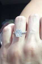 Certified 2.85Ct White Radiant Diamond Solitaire Engagement Ring 14K White Gold