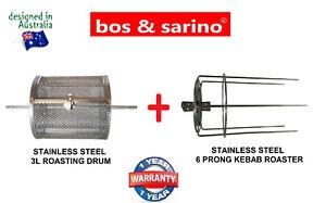 BOS&SARINO Coffee Bean Nut Chips Grill Rotisserie 3L Drum & 6 Prong Kebab SKewer