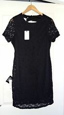 Nelly Sexy Lace Bodycon Black Mini Dress Open Back Sz UK 12 EUR 40 Brand New