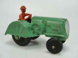 1920's ARCADE CAST IRON OLIVER ORCHARD 70 FARM TRACTOR TOY ORIGINAL W/ 2 PLOWS