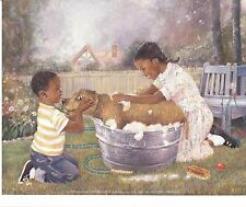 African American Art Print Boy and Girl Washing Dog in Wash Tub 8X10 Size