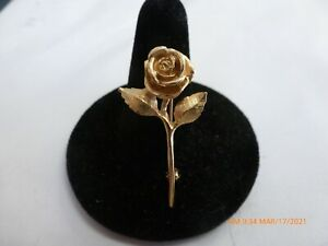 "James Avery 14k Solid Gold Rose Pin Brooch  1.3/8""  long  4.5 Grams"