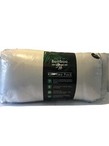 """Lot Of 2 Touch Of Bamboo 2 Pack =4 Pieces King Size Bed Pillow 18""""X34""""X2"""" NEW"""