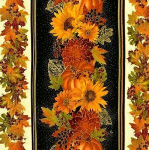 Pumpkins Fabric Fat Quarter Cotton Craft Quilting Harvest Elegance Border Stripe
