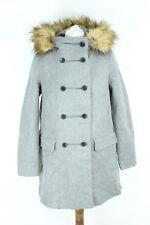 Zara 89 Light Grey Winter Warm Long Sleeve Woman Coat With Faux Fur Size M