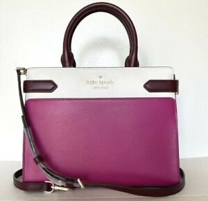 New Kate Spade New York Staci colorblock Medium Satchel Leather Pink multi