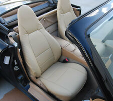 MAZDA MIATA 2001-2005 BEIGE S.LEATHER CUSTOM MADE FIT FRONT SEAT COVER