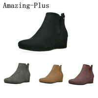 US Womens Low Wedge Heel Ankle Boots Zip Up Almond Toe Ladies Casual Boots