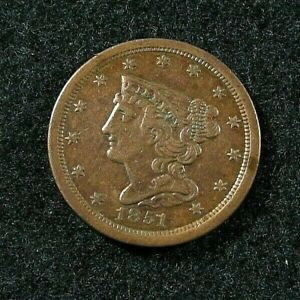 1851  HALF CENT  -  XF / EF  - Old Cleaning
