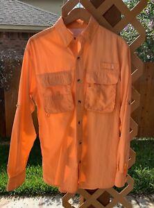 Women's MED Worldwide Sportsman Long Sleeve Nylon Vented Fishing Shirt Orange