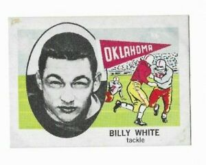 Billy White OK Sooners NCAA End 1961 Nu-Cards Football Card 167 Single Original
