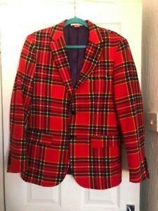 Mens Tartan suit Opposites PUNK/ skin-head/ fancy dress or party size 38