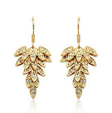 Rose Gold Fill Leaf Design Made with Swarovski Crystal Chandelier Earring IE37