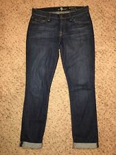 7 For All Mankind Skinny Crop And Roll Dark Wash Distressed Low Rise Jean SZ 27