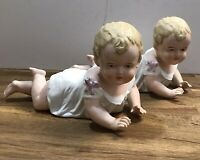 """TWO BISQUE Porcelain PIANO Babies Figurine Crawling GIRLS stamped 23/109  9.75"""""""