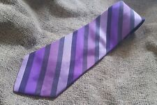 EUC ALFANI MEN'S 100% SILK TIE HAND MADE STRIPED PURPLE USA
