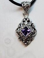 Amethyst Gemstone & 925 Sterling Silver Filigree Necklace