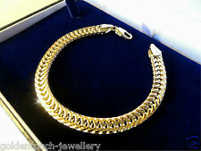 "Mens unisex 18k yellow gold filled curb chain bracelet bangle, 8.26"", UK"
