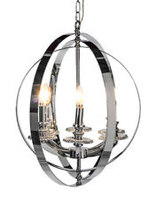 Large Chrome Round Ball Orb Sphere Lantern Pendant Chandelier 65 x 60 x 60 cm