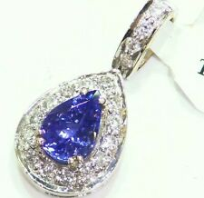 1.61CT 14K Gold Natural Tanzanite White Diamond Vintage AAA Engagement Necklace