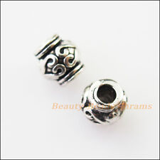 30Pcs Antiqued Silver Tone Tiny Heart Tube Spacer Beads Charms 6x6.5mm