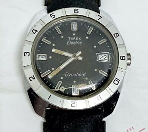 Vintage 1970s Mens Timex Electric Dynabeat Date Watch Rotating Bezel Black