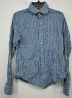 Hollister Mens Blue Striped Button Front Flat Collar Long Sleeve Cotton Shirt S