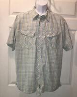 Nike Air Jordan Jumpman Button Up Cotton S/S Shirt Blue Plaid Sz XL EUC
