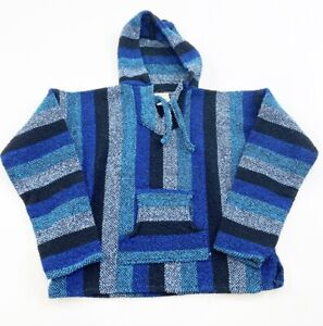 Mexican Poncho Baja Hoodie Youth Small Blue