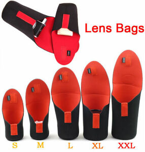 5Pcs Waterproof DSLR SLR Camera Lens Bag Soft Pouch Case Protector S M L XL XXL