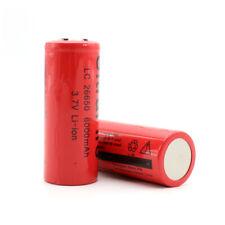 2Pcs 26650 3.7V 6000mah Batería recargable de Li-ion Para Linterna Antorcha Roja