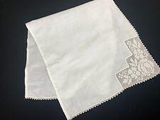 Vintage White On White Crochet Lace Trim Table Runner Or Dresser Scarf