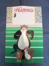Rare NOS Hamm's Beer Bear & Squirrel Football Price Bar Sign Poster Pabst Mint